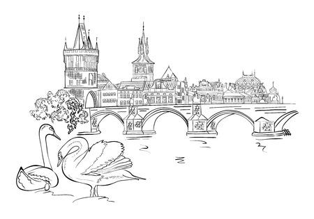 프라하의 파노라마입니다. 찰스 다리와 Vltava 강 제방의보기. 체코입니다. 벡터 일러스트 레이 션.
