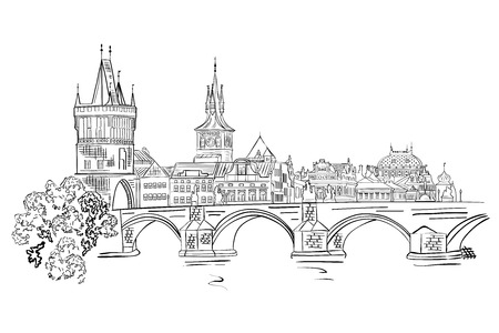 Panorama of Prague. View of Charles Bridge and the Vltava river embankment.Czech Republic. Vector illustration.