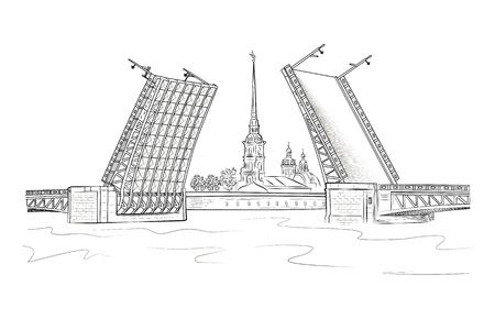 Uitzicht op de Peter en Paul-vesting vanaf de Neva-rivier via de ophaalbrug. Bezienswaardigheden van St. Petersburg. Vector Illustratie