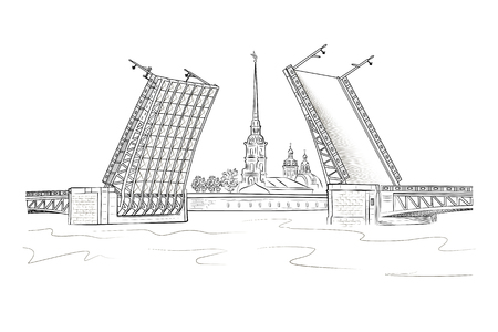 View of the Peter and Paul Fortress from the Neva River through the drawbridge. Sights of St. Petersburg. Vetores