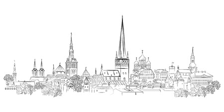 Panoramic view of the old town and its sights. Tallinn. Estonia. Stock Illustratie