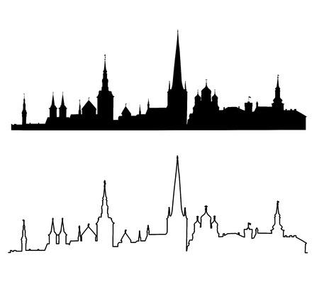 タリンの主要な観光スポットのシルエットのセット。Estonia.Vector の図。  イラスト・ベクター素材