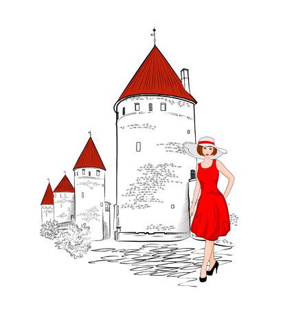 오래 된 탈린의 도시 벽의 배경에 소녀. 에스토니아의 매력. 일러스트