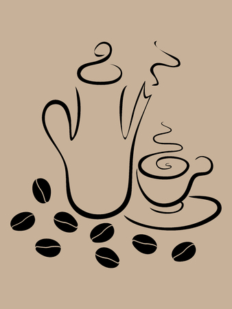 Outlined illustration of coffee teapot and teacup