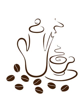 coffee dishes Illustration