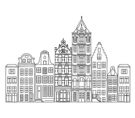 Facades of old Amsterdam houses. 向量圖像