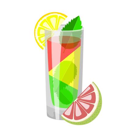 A glass of fresh lemon juice with mint leaves and half lemon. Vector illustration. Illustration