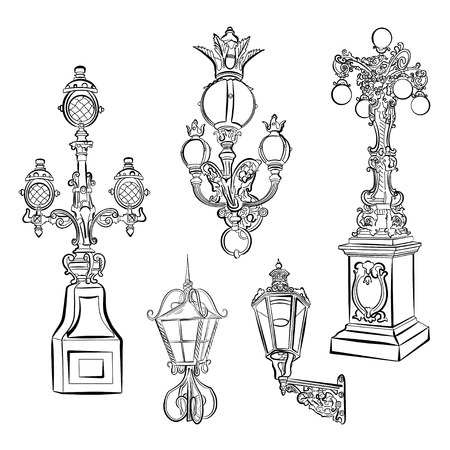 Collection of old street lights. Vector illustration. Ilustrace