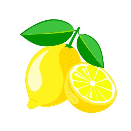 Citron aux feuilles et demi de citron. Illustration vectorielle. Vecteurs