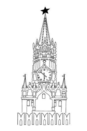 Black and white illustration of Spasskaya Tower of the Moscow, Kremlin. Illustration