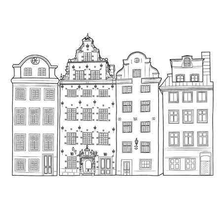Black and white facades of old Stockholm houses Illustration