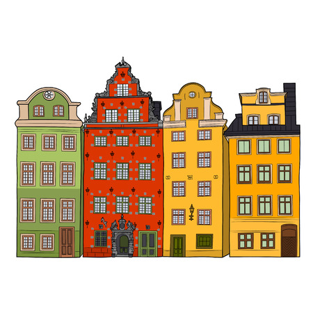 facades of old Stockholm houses Illustration