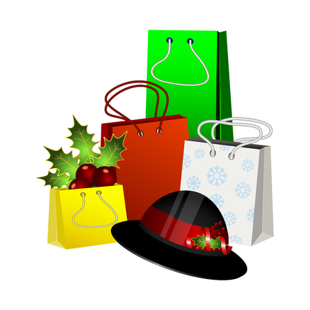 Christmas gift packages with a hat Illustration