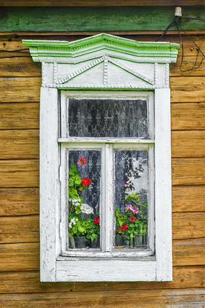 window of the old Russian house 版權商用圖片