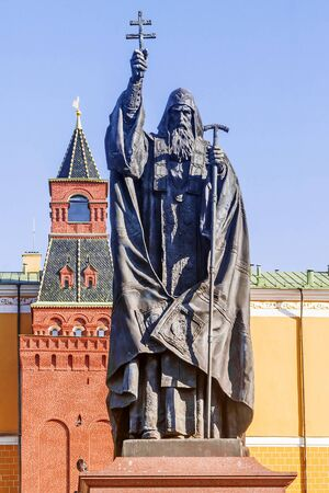 Monument to Patriarch Hermogen in the Alexander Garden of Moscow
