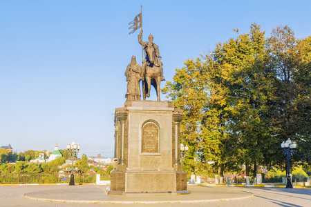 Monument to Prince Vladimir and Saint Fedor in Vladimir. The inscription on the monument in Russian: Equal-to-the-Apostles Prince Vladimir and Saint Fyodor, the baptizer of Vladimirs land