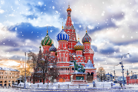 winter view of the St. Basil's Cathedral in Moscow Фото со стока