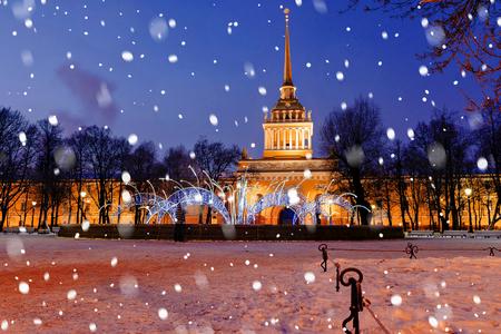 leningrad: Admiralty in St. Petersburg in winter Stock Photo