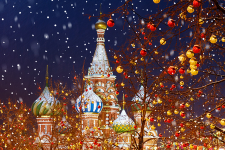 Christmas decoration of the red square in Moscow