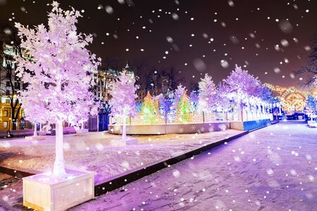 Christmas in Moscow. Fabulous decoration of Pushkin Square in Moscow Stock Photo