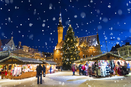 Christmas in Tallinn. Town Hall Square with Christmas Fair Stok Fotoğraf