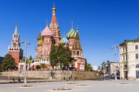 St. Basils Cathedral and the Spassky Tower of the Moscow Kremlin