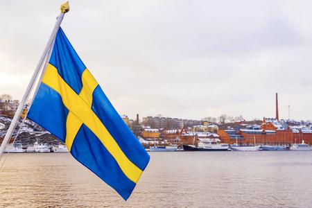 bandera de suecia: Bandera sueca en Estocolmo