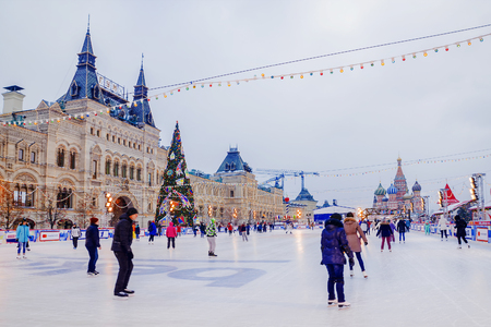 MOSCOW, RUSSIA-DECEMBER 7, 2016: Moscow ice skating rink on Red Square, a favorite holiday destination for Muscovites and guests of the capital