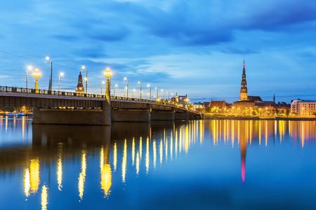 panorama of the night Riga, Latvia