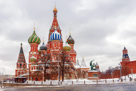 winter view of St. Basils Cathedral in Moscow