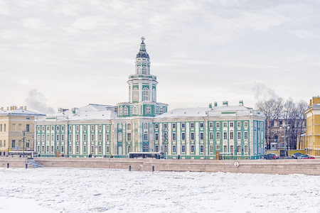 Winter view of the Kunstkamera in St. Petersburg