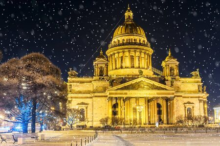 Christmas in St. Petersburg. Saint Isaacs Cathedral