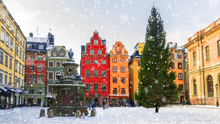Christmas in Stockholm.Stortorget Square decorated for Christmas, Sweden. Editorial