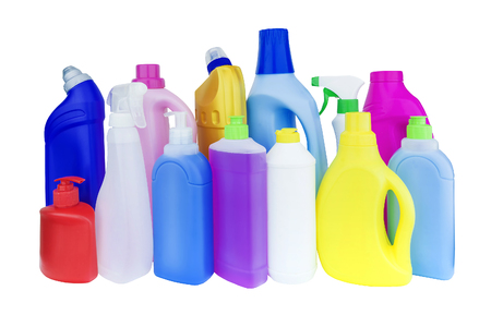 multicolored bottles with household chemicals
