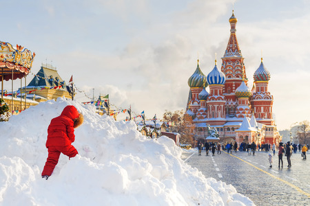 Winter view St. Basils Cathedral in Moscow