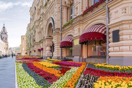 Nikolskaya street in Moscow, decorated with flowers