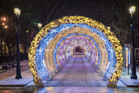 Christmas in Moscow. light tunnel on Tverskoy Boulevard in Moscow Stock fotó - 113927970