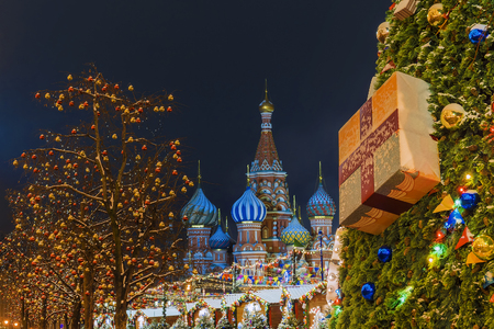 Christmas in Moscow. New Year's Decoration of the Red in Moscow 免版税图像