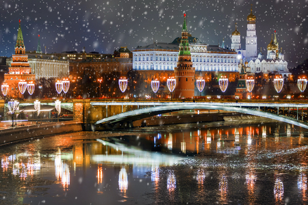 Christmas in Moscow.winter panorama of night Moscow, Russia