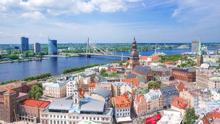 Riga, Latvia. Panoramic view of the Riga 스톡 콘텐츠