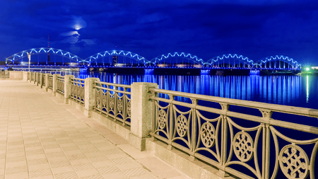 Night view of the embankment in Riga 스톡 콘텐츠
