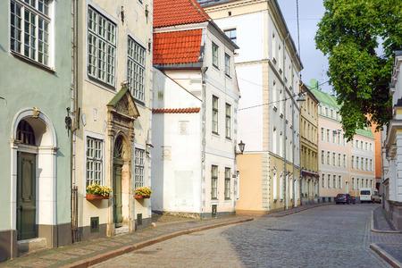 Riga, Lettonie. vieilles rues pavées de la ville de riga Banque d'images