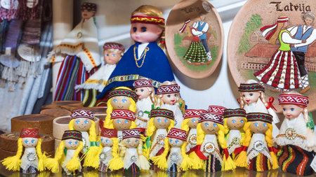 souvenirs from Latvia.Latvian souvenir dolls in national clothes