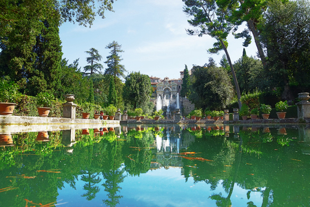 Villa d'Este is one of the most famous Italian villas of the XVI century. Italy 스톡 콘텐츠