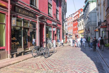RIGA LATVIA-11 JULY 2017: Old Rigas tourist street of the capital of Latvia