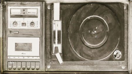 Retro record player vinyl records and audio cassettes(imitation of old photo) 스톡 콘텐츠