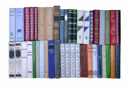 Old books. Different books on white background