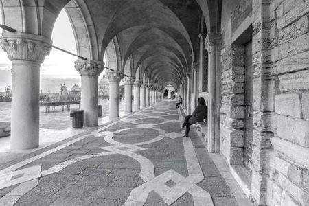 Italy, Venice. Colonnade of the Doge's Palace in Venice