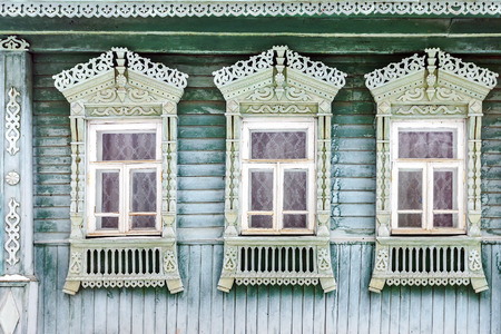 old window of the Russian wooden house