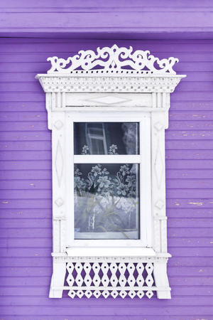window of the  Russian house.window with flowers